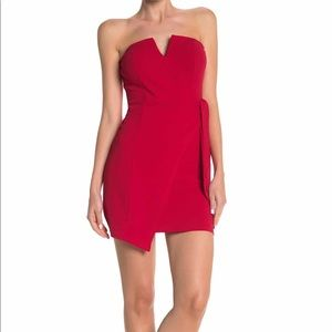 Row A V Wire Strapless Side Tie Red Dress Large